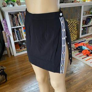 Superdown black mink skirt w/button up side